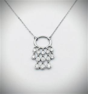 Sterling Silver Necklace w Dangly Cubic Zirconia