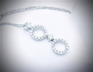 Sterling Silver Necklace w Double Halo CZ Pendant