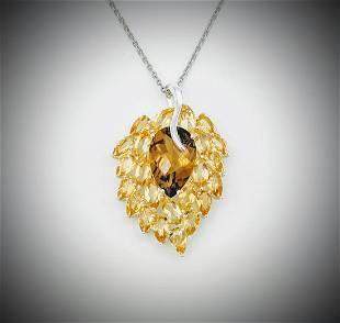 Sterling Silver Necklace w Leaf Designed Citrine