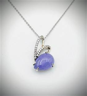 Sterling Silver Necklace w Pear Shaped Violet Jade & CZ