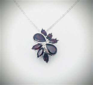 Sterling Silver Necklace w Pyrope Garnet Pendant