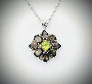 Sterling Silver Necklace w Smoky Quartz & Peridot