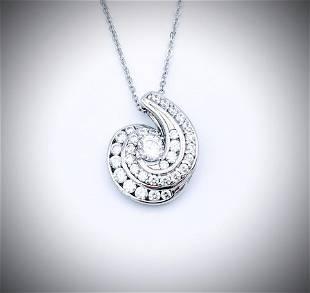Sterling Silver Necklace w Swirl Pendant dressed w CZs