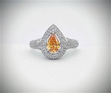 Sterling Silver Sz 7 Citrine & Cubic Zirconia Ring