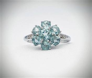 Sterling Silver Sz 7 Diamond & Agate Ring