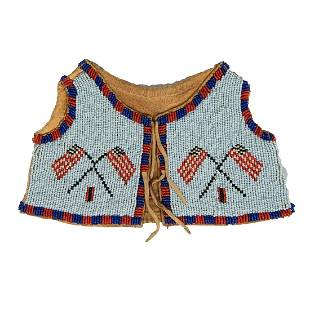 Plains beaded infant's vest, mid to late 20th century,