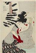 Tsukioka YOSHITOSHI (1839-92): Looking frozen: The