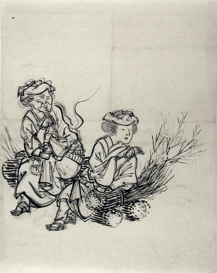 Meiji period artist: Two farming women