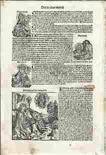 1493 Leaf Nuremburg Chronicle Woodcuts