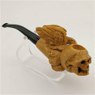 Gothic Skull with Eagle and Snake Meerschaum Pipe