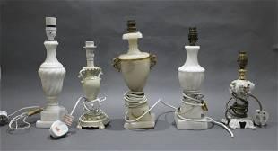 Set of 5 Vintage Italian Marble Alabaster & Porcelain