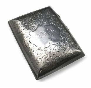 Edwardian Silver Engraved Hip Cigarette Case Birmingham