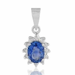 14K Gold 4.65 TCW HI/SI Diamond Blue Sapphire Pendant