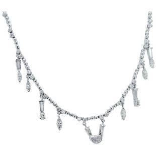 Diamond Necklace Choker 14K White Gold 5.16 TDW