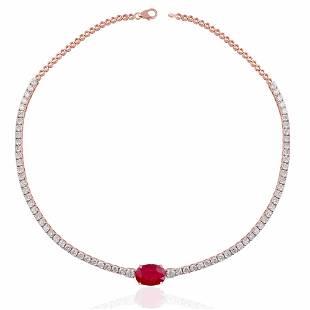 Ruby Gemstone Choker 18Kt Rose Gold Diamond Jewelry
