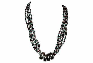 South East Asian Silver Tone Bead & Bone Necklace