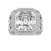 14.03 Carat White Moissanite 18K Gold Ring For Women