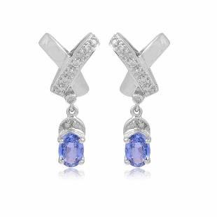 14K Gold 1.39 TCW Diamond Blue Sapphire Stud Earrings