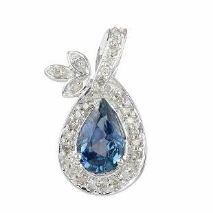 14K Gold 1.91 TCW HI/SI Diamond Blue Sapphire Pendant