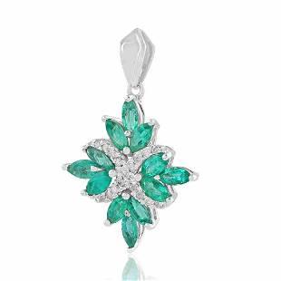 14K Gold 2.028 TCW HI/SI Diamond Emerald Pendant