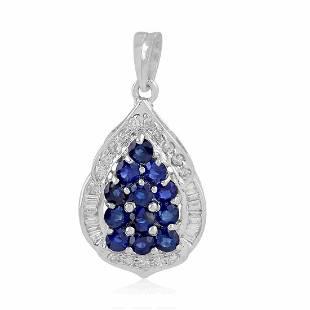 14K Gold 2.14 TCW HI/SI Diamond Blue Sapphire Pendant