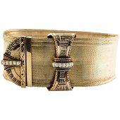 Victorian Seed Pearl Bracelet 16K Gold Mesh Cuff