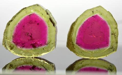 21 Carats Beautiful Watermelon Tourmaline Pairs Pieces