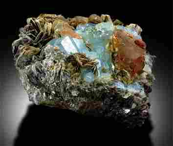 Aquamarine with Fluorite Mineral Specimen - 1672 g