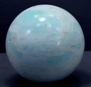 Carribean Calcite Sphere Ball , Blue Calcite Gemstone
