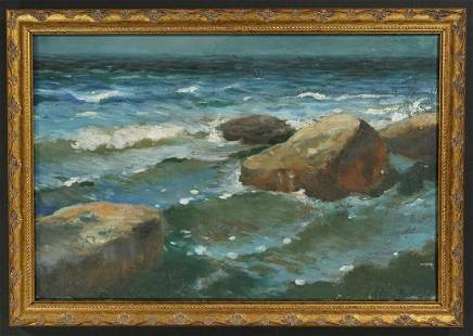 Unknown - Seascape With Rocks