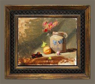 Kelli Folsom - Still Life: Jug, Fruits and Flowers