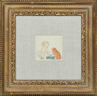 Unknown - Original Watercolor: Baby and Cat