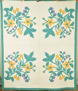 30's Floral Applique Quilt, Unusual Design