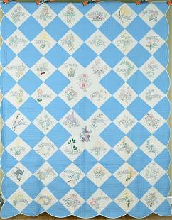 Well Quilted Blue & White State Flower Quilt