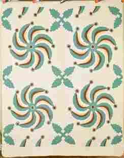20's Princess Feather & Oak Leaf Applique Quilt