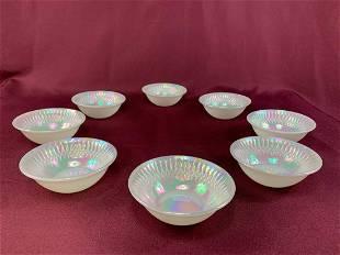 (8) White Iridescent Bowls
