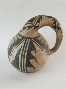 Acoma Black on White Pottery Gourd Jar