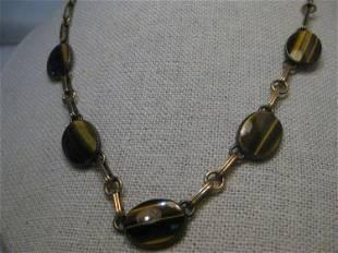 Vintage Symmetalic Vermeil Tiger's Eye Necklace/Choker,