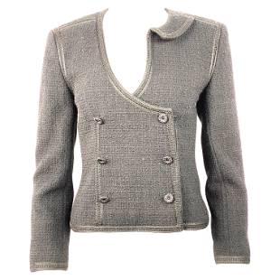 Vintage Chanel Black Tweed Blaze Jacket Size 38