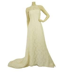 Pronovias White Beaded Floor Length Bridal Wedding Gown