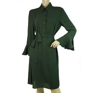 Michael Kors Green 100% Silk Pagoda Sleeve Belted Knee