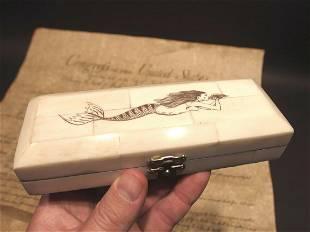 Mermaid Scrimshaw Etched Bone & Wood Trinket Stamp