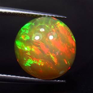 4.41 Ctw Natural Ethiopian Multicolor Fire Opal Round