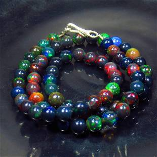 85.00 Ctw 925 Silver 67 Black Fire Opal Beads Necklace
