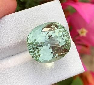 Oval Cut Green Kunzite Gemstone, 25.5 Carat, Perfect