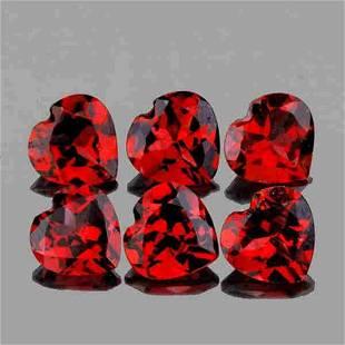 Red Mozambique garnet heart -6pcs