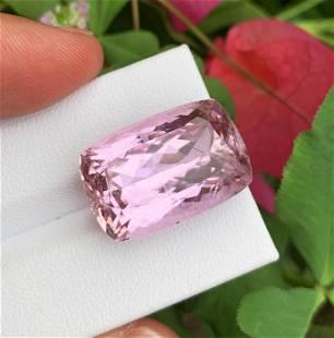 Natural Pink Kunzite Gemstone, 28.5 Carat, Cushion Cut,