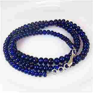 202.04 Ctw 925 Silver 136 Blue Sapphire Beads Necklace