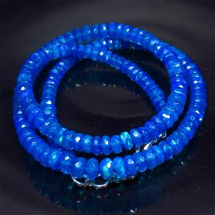 55.15 Ctw 925 Silver 162 Blue Fire Faceted Opal Beads