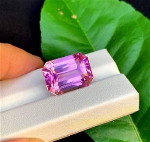 Octagon Cut Shocking Pink Kunzite Spodumene Loose